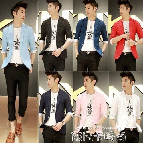 七分袖西服男士中袖小西裝外套男夏季韓版修身學生上衣半袖西服男 依凡卡時尚