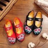 老北京布鞋女春秋季平底單鞋平底民族風繡花鞋廣場舞媽媽跳舞鞋