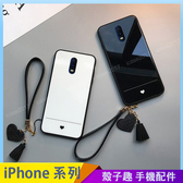 小愛心 iPhone SE2 XS Max XR iPhone i7 i8 i6 i6s plus 情侶手機殼 經典黑白 愛心吊繩掛繩 防摔殼