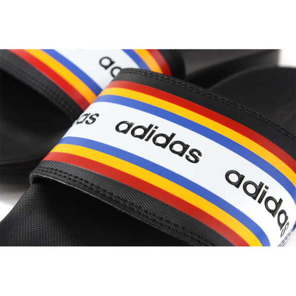 adidas Adilette Comfort 拖鞋 戶外 防水 黑/白 彩色條紋 女鞋 F085436 no767