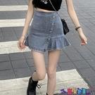 牛仔短裙 高腰牛仔短裙顯瘦小眾百褶a字半身裙女春夏季2021新款不規則裙子寶貝計畫 上新