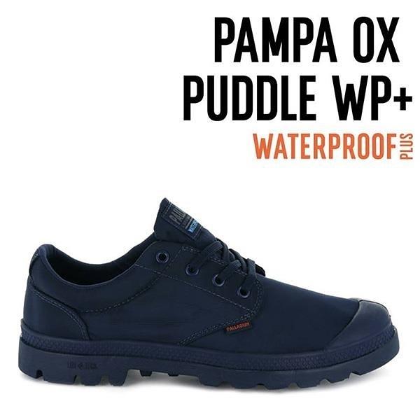【南紡購物中心】【PALLADIUM】PAMPA OX PUDDLE LT+ WP 輕量雨傘布防水低筒 / 深藍 男女鞋