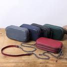 【Solomon 原創設計皮件】真皮小方包 三邊開口 側背 斜背  鐵鍊背帶牛皮包