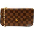 【Louis Vuitton 路易威登】N63032 Pochette Felicie 棋盤格紋鍊條斜背小提包(咖啡)