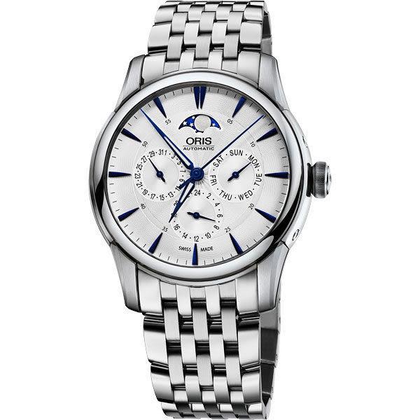 ORIS 豪利時 Artelier 藝術家多功能月相盈虧手錶-銀x藍時標/40.5mm 0178177034031-0782177