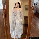 藍色吊帶洋裝桔梗法式紗網溫柔風氣質兩件套裙子仙女超仙森【全館免運】