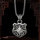 《 QBOX 》FASHION 飾品【C2011S73】精緻個性復古太陽盾牌設計S925純銀項鍊/泰銀吊墜