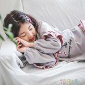 女童睡衣睡衣女童長袖純棉秋季女孩中大童套裝韓版寬鬆  【熱賣新品】