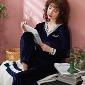 睡衣韓版金絲絨睡衣女士春秋季長袖薄絨大碼v領寬鬆珊瑚絨家居服新款新品