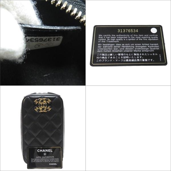 CHANEL 香奈兒 黑色菱格紋羊皮斜背小包 手機包 【二手名牌BRAND OFF】