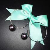 耳環 925純銀-C型珍珠生日情人節禮物女飾品73ia28[時尚巴黎]