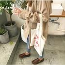 ★春裝女裝韓版寬鬆百搭帆布開衫雙排扣中長款學生長袖休閒風衣外套