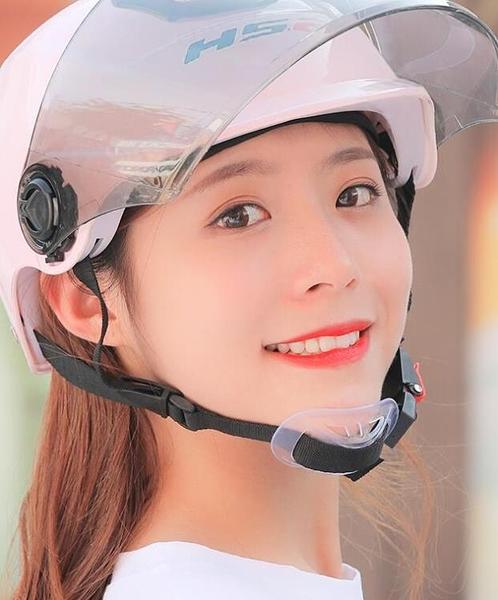 電瓶車頭盔灰女夏季可愛防曬電動
