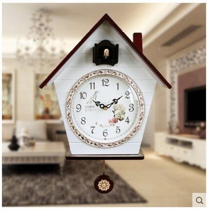 凱樂絲光控音樂報時布穀鳥咕咕鐘錶歐式簡約時尚創意客廳田園掛鐘