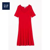 Gap女裝簡約圓領短袖中長款洋裝499809-裏約紅