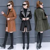 皮衣外套 皮衣外套女秋冬新款時尚加厚加絨中長款冬羊羔毛拼接修身大衣 酷我衣櫥