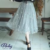 裙子 星星雪花鬆緊紗裙長裙-Ruby s 露比午茶