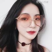 (快出)網紅街拍鍊條墨鏡女新款韓版潮太陽平光鏡