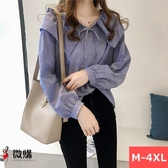 微購【A2806】娃娃領條紋長袖襯衫
