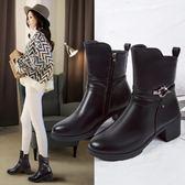中筒靴女鞋高跟2019靴子中筒短靴粗跟皮鞋舒適圓頭季馬丁靴韓版/