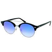 原廠公司貨-【Ray Ban 雷朋】RB4346-6250/7Q 新上市!雷朋新款太陽眼鏡(銀X黑框/漸層水銀藍鏡面)