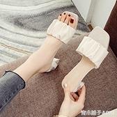 網紅夏季涼拖鞋女外穿時尚百搭2020新款超火中跟高跟粗跟一字拖鞋 青木鋪子