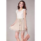 短袖蕾絲雪紡連身洋裝裙