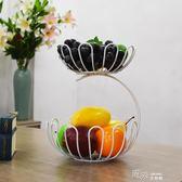 兩層客廳水果盤歐式創意時尚家用果籃零食干果盤雙層廚房收納籃 道禾生活館