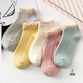 5雙| 蕾絲花邊棉襪短襪糖果色短筒襪純棉襪子女薄款【愛物及屋】
