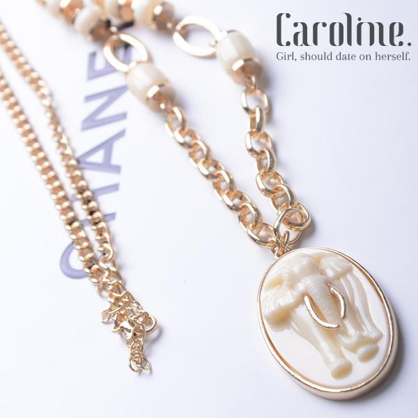 《Caroline》★泰國時尚風格佛牌 仿象牙色佛牌掛鍊泰國大象造型時尚設計感長項鍊69458