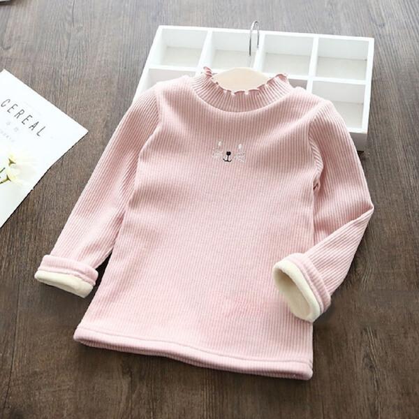 加絨加厚長袖上衣 貓咪卡通 長袖高領上衣 T恤 保暖童裝 MS3168 好娃娃