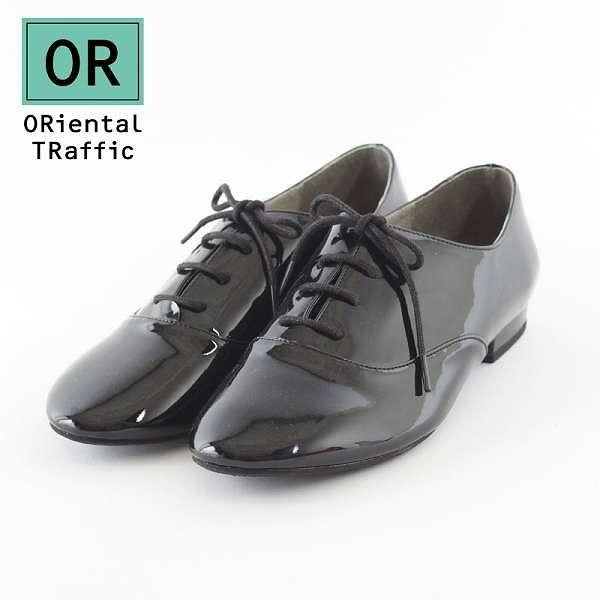 【ORiental TRaffic】學院知性風綁帶休閒鞋-英倫黑