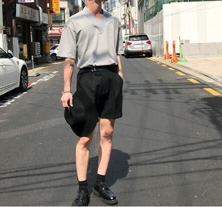 找到自己 MD 韓國 時尚 休閒 男 簡約 細條紋 休閒短褲 五分褲 西裝短褲