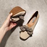 春平底方頭單鞋女淺口平跟軟底豆豆鞋甜美蝴蝶結上班工作鞋 KOKO時裝店