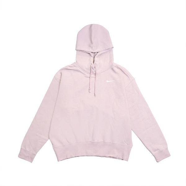 Nike 長袖T恤 NSW Fleece Hoodie 粉 白 女款 馬可龍色 連帽 運動休閒 【ACS】 CZ2591-645