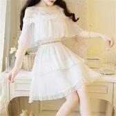 白色吊帶一字肩雪紡洋裝女夏季新款法式小個子仙女可甜可鹽 極有家