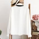 女裝日繫學院風蝴蝶領結娃娃領白色長袖襯衫滌綸小清新白襯衣