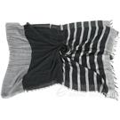 FABIANA FILIPPI 莫代爾羊毛混紡金蔥條紋流蘇圍巾(黑灰色) 1940300-01