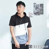 【OBIYUAN】短袖帽T 韓國製 專櫃 撞色 拼接短袖T恤 共1色【BM150】