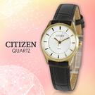 CITIZEN 星辰手錶專賣店 ER0202-02A 女錶 日系 皮革錶帶 白面 不鏽鋼錶殼 指針 防水50米