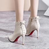 高跟短靴女2020年新款加絨細跟尖頭短筒白色靴子女士秋冬季高跟鞋 美眉新品