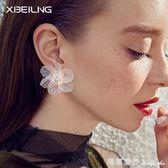 歐美簡約新款透明花朵耳釘女 氣質花瓣耳環日韓潮人百搭耳飾品 全網最低價最後兩天