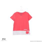 【INI】休閒搭配、質感舒服造型小口袋上衣.梅紅色