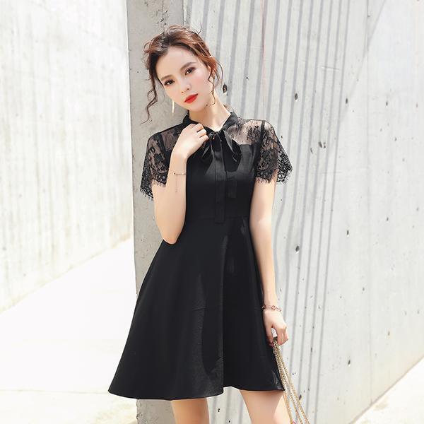清倉388 韓國風復古蝴蝶結領修身蕾絲度假顯瘦短袖洋裝