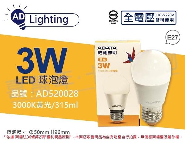 ADATA威剛照明 AL-BUA16C2-3W30C LED 3W 3000K 黃光 E27 全電壓 球泡燈  AD520028