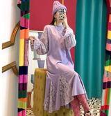時尚連身裙打底裙6358新款個性蕾絲拼接魚尾擺減齡連身裙TBF-27C胖胖唯依