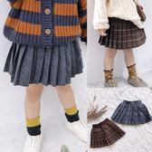 *╮S13小衣衫╭*中小童秋冬學院風毛呢百褶短裙1070912
