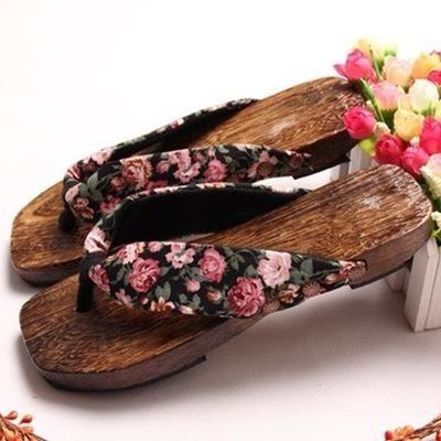 流行元鞋人字拖女涼鞋平跟木底木拖鞋女木頭拖鞋女居家鞋