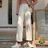 白色牛仔褲女秋高腰直筒寬鬆休閒褲百搭顯瘦【創世紀生活館】
