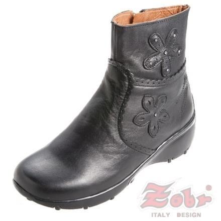 【南紡購物中心】ZOBR路豹 經典真皮氣墊女短靴黑色款 3296